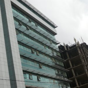 Witness of the economic boom in Ethiopia: office buildings in the town of Adama.